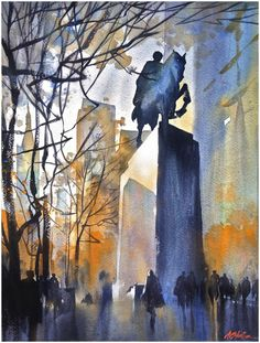 """""""morning - central park south"""" thomas w schaller watercolor 24x18 inches 13 december 2013"""