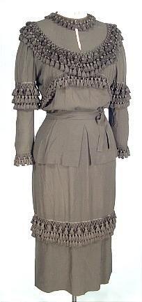 Gilbert Adrian,  incredible crepe late day dress. c, 1949.