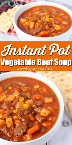 Instant Pot Vegetable Beef Soup - Vegetable Beef Soup is one of those meals that immediately makes me think of my parents and grandparents. It's perfect for a snowy winter night, a rainy spring afternoon, or a crisp fall lunch date. Beef Veggie Soup, Beef Soup Recipes, Veg Soup, Vegetable Soup Recipes, Cooking Recipes, Healthy Recipes, Tomato Vegetable, Instapot Soup Recipes, Gourmet