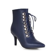 Women's Solid Blend Materials Kitten Heels Round Closed Toe Zipper Boots Blue 38
