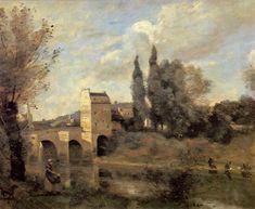 COROT, Jean-Baptiste Camille -  The Bridge at Mantes 1868-70 Oil on canvas, 46 x 60 cm Museu Calouste Gulbenkian, Lisbon