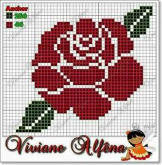 Rose x-stitch pattern Cross Stitch Cards, Cross Stitch Rose, Cross Stitch Alphabet, Cross Stitch Flowers, Cross Stitching, Cross Stitch Embroidery, Crochet Stitches Patterns, Modern Cross Stitch Patterns, Embroidery Patterns