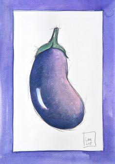 #melanzana #viola #illustrazione #acquerello #poster #cucina #verdure