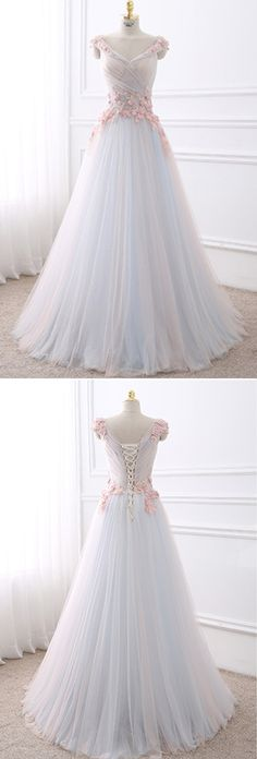 Cute flowers aplqiued white tulle long prom dress