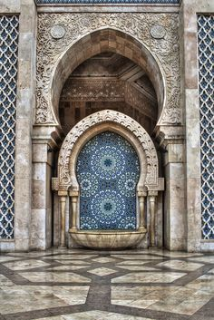 Water fountain at Hassan II mosque in Casablanca, Morocco. This mosque is quite new and as stunning as any Cathedral.