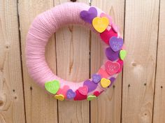 Valentine candy wreath pink wool yarn with candy by GAGirlDesigns