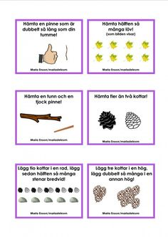 Uppdragskort-Skogen/matematik Educational Activities For Kids, Learning Activities, Outdoor Activities, Sign Language Book, Learn Swedish, Swedish Language, Outdoor Learning, Montessori Materials, Preschool Math