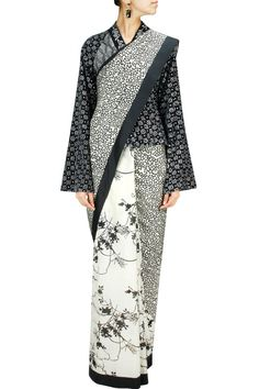 Ivory and black mix and match print sari available only at Pernia's Pop-Up Shop.