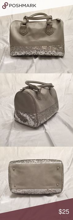 Gray Boston bag Gray Boston bag with sparkly sequin trim. Only used a handful of times Poppie Jones Bags Shoulder Bags