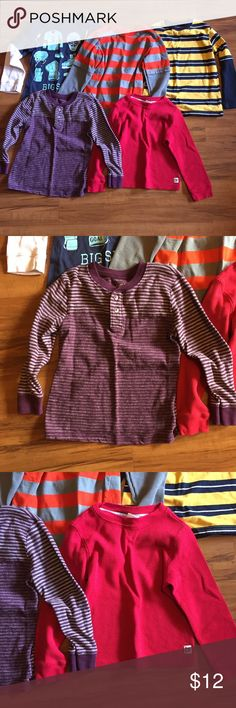 Boy's Long Sleeve Shirt set - 5 Shirt Bundle Boy's Long Sleeve Shirt set - 5 Shirt Bundle. Mixed brands: geranimals, crazy 8, carters, Cherokee. All cotton. All worn and good condition. Shirts & Tops Tees - Long Sleeve