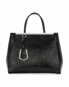 Personalized 2Jours Glazed Saffiano Tote Bag, Black by Fendi at Neiman Marcus.