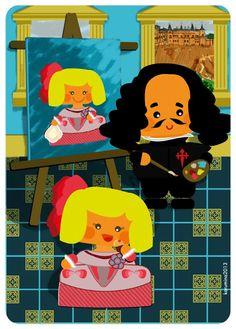 Velazquez and the little princess Margarita cubisan