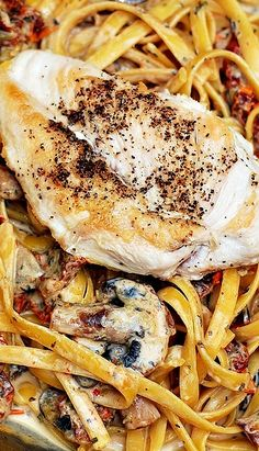 Chicken Mushroom Pasta with sun-dried tomatoes in a creamy garlic and basil sauce ~ Tender and juicy chicken breast in a creamy pasta sauce!