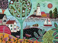 Summer Day 16x12 inch Houses Boats ORIGINAL Lighthouse CANVAS PAINTING  Karla G, new painting, fabulous colors and detail..for sale now... #FolkArtAbstractPrimitive
