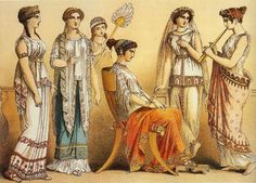 This picture represents typical outfits worn by women in Ancient Greece.