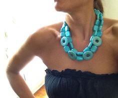 The Madge - bold turquoise statement necklace. $85.00, via Etsy.