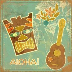 Vintage tarjeta de Hawai - Invitación a Fiesta en la playa Foto de archivo