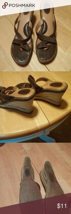 """💗Born Leather and Jute wrap style thongs Dark brown leather wrap style thong sandals 3"""" tall very cute and in great condition again a great proof sandals But couldn't wear due to very swelled feet ;'(( my loss your gain 😘 Born Shoes Sandals"""