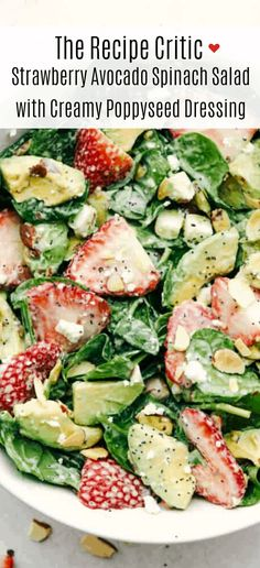 Fresh strawberries sliced avocados slivered almonds and sprinkled with feta cheese all tossed with a spinach salad then drizzled poppyseed dressing mixed together for the final touch. This strawberry avocado spinach salad is one everyone is raving about! Strawberry Avocado Salad, Avocado Spinach Salad, Dressing For Spinach Salad, Avacodo Salad, Spinach Salad Recipes, Crab Salad, Potato Salad, Salad Bar, Soup And Salad