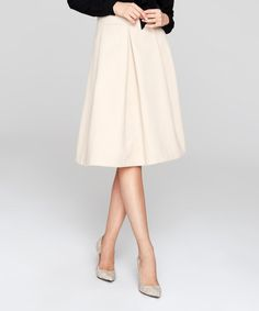 Beige Wool-Blend A-Line Skirt