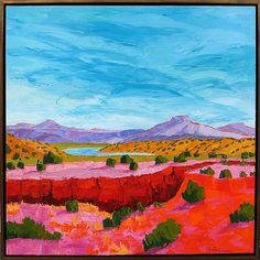 """Midday at the Arroyo 37.5"""" x 37.5""""by Michelle Chrisman oil on canvas"""