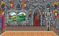I liked this backdrop, but I ended up getting just the plain stone wall backdrop from the Spirit Halloween store (look for a 20% off coupon online)
