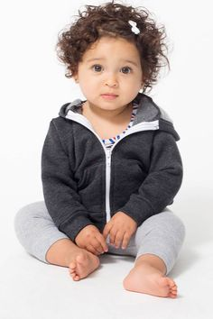 American Apparel Infant Flex Fleece Zip Hoodie...Cute baby!! Look at those cheeks & that hair :o)