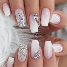 Whether you plan to DIY your nail design at home or take the inspiration to a technician, these top ideas are sure to get you excited and fired up for some new fabulous fingertips. Best Winter Nail Art Designs You Need to Copy. Classy Nail Designs, Ombre Nail Designs, Pretty Nail Designs, Pretty Nail Art, Acrylic Nail Designs, Nail Art Designs, Diamond Nail Designs, Stylish Nails, Classy Nails
