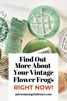 This is a guide to collecting vintage flower frogs. Learn about what they are, how they're used, and the various types. Vintage Kitchenware, Vintage Dishes, Vintage Glassware, Flea Market Gardening, Flower Arrangements Simple, Frog Design, Flower Frog, Heart Crafts, Floral Supplies