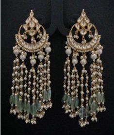 Kundan Chandbali Earrings with Pearl Hangings, Gold Plated Indian Fashion Earring, Handmade Kundan Jewelry,South Indian Traditional Jewelry Indian Jewelry Earrings, Indian Jewelry Sets, Jewelry Design Earrings, Gold Earrings Designs, Gold Jewellery Design, Ear Jewelry, Fashion Earrings, Bridal Jewelry, Jewelry Accessories