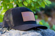 d3984035f9c American Flag Hat. Black Trucker HatAmerican Flag PatchFlag PatchesSnapbackBlack  MeshBrown LeatherGadgetPrideShips