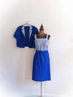 Vintage 1980s Nautical Blue Striped Dress with Belt by ArtDecoDame,