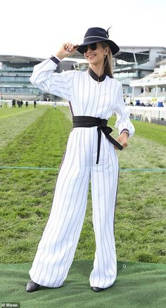 Ladies swap their high heels for flip-flops as they head home from Aintree Boucle Jacket, Tweed Jacket, Vogue Poses, Charlotte Hawkins, White Flip Flops, Bright Dress, Monochrome Outfit, Royal Ascot, Blue Coats