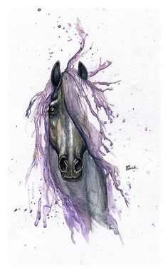 Framed original watercolour painting-Tattoo horse by AngelHorses