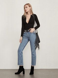 This is part of the Reformation x Jeanne Damas collection. The Encina Bodysuit. https://www.thereformation.com/products/encina-bodysuit-black?utm_source=pinterest&utm_medium=organic&utm_campaign=PinterestOwnedPins