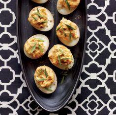 Sriracha and wasabi deviled eggs