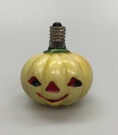 "Vintage Halloween Jack-O-Lantern Pumpkin Light Bulb Glass White 2"""