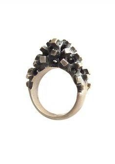 """Ring """"chaotic square"""" from Fantasy Collection: wearable sculpture in oxidized and satin silver by Simona Materi."""