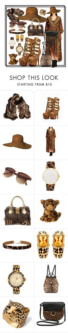 """leopard boots, gold ski buckles"" by caroline-buster-brown ❤ liked on Polyvore featuring Black, City Chic, Larsson & Jennings, Louis Vuitton, Miss Selfridge, Christian Dior, Betsey Johnson, Dolce&Gabbana, M&Co and UniqueShoes"