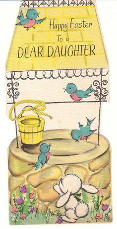 Vintage Easter Card Well Bluebirds Daughter American Greeting Die Cut