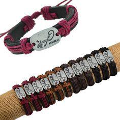 "Fashion!Lots12pcs Alloy Tone ""Gecko"" Design Genuine Black Leather Hemp Bracelets #cheapfine #fashion"