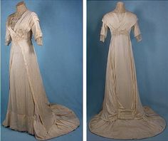1912 dress, silk, lace details and embroidered with pearls. See the detail of the buckle on the skirt.