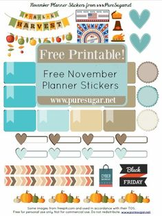 Hello everyone! I know, I have so much to catch up on — but that will have to wait for tomorrow. Today I'm just popping in to share another FREE November printable for your planner or c… To Do Planner, Free Planner, Erin Condren Life Planner, Happy Planner, Printable Planner, Free Printables, Planner Ideas, Planner Stickers, Printable Stickers