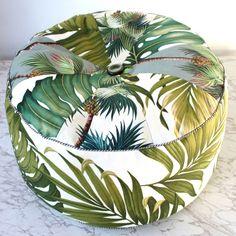 green palm barkcloth pouf