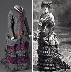 Dress, 1875-1880, in gray silk with aubergine-colored satin. Long sleeves with V neck. Closes in the center with snaps, which replace the original narrower button closure. Via Mode Museum, Antwerp.