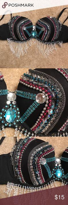 Sparkle black rave bra Pink, blue, silver and black sparkle rave bra. Worn once. Excellent condition. Handmade. Intimates & Sleepwear Bras