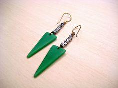 Dagger Earrings // Brass & Green // Women's Jewelry // Statement Earrings