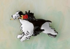 Springer Spaniel dog  Pin / Pendant in pewter with a Red  Rose