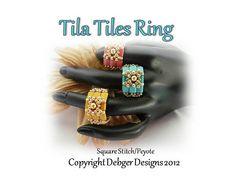 Tila Tiles Ring  Tila Pattern Tutorial by DebgerDesigns on Etsy, $6.50