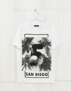 Text and print top - T-shirts - Bershka United Kingdom